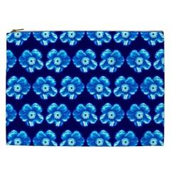 Turquoise Blue Flower Pattern On Dark Blue Cosmetic Bag (xxl)  by Costasonlineshop