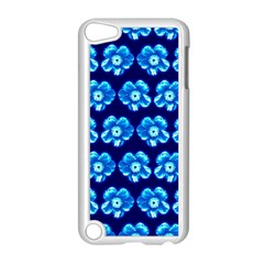 Turquoise Blue Flower Pattern On Dark Blue Apple Ipod Touch 5 Case (white)