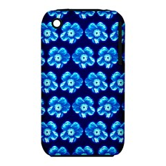 Turquoise Blue Flower Pattern On Dark Blue Iphone 3s/3gs