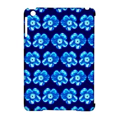 Turquoise Blue Flower Pattern On Dark Blue Apple Ipad Mini Hardshell Case (compatible With Smart Cover)