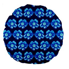 Turquoise Blue Flower Pattern On Dark Blue Large 18  Premium Round Cushions by Costasonlineshop