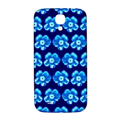 Turquoise Blue Flower Pattern On Dark Blue Samsung Galaxy S4 I9500/i9505  Hardshell Back Case by Costasonlineshop