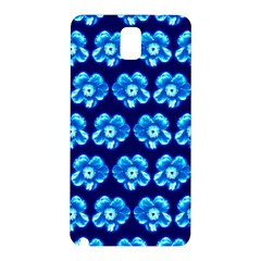 Turquoise Blue Flower Pattern On Dark Blue Samsung Galaxy Note 3 N9005 Hardshell Back Case by Costasonlineshop