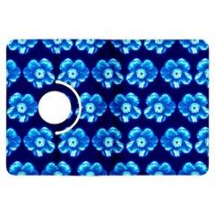 Turquoise Blue Flower Pattern On Dark Blue Kindle Fire HDX Flip 360 Case