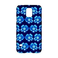 Turquoise Blue Flower Pattern On Dark Blue Samsung Galaxy S5 Hardshell Case  by Costasonlineshop