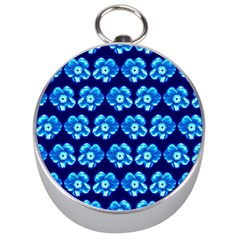 Turquoise Blue Flower Pattern On Dark Blue Silver Compasses