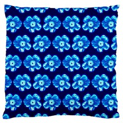 Turquoise Blue Flower Pattern On Dark Blue Large Flano Cushion Case (Two Sides) by Costasonlineshop