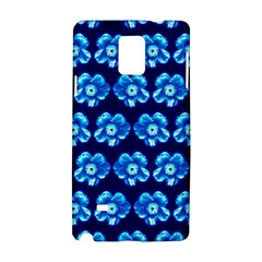 Turquoise Blue Flower Pattern On Dark Blue Samsung Galaxy Note 4 Hardshell Case by Costasonlineshop