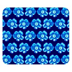 Turquoise Blue Flower Pattern On Dark Blue Double Sided Flano Blanket (small)  by Costasonlineshop