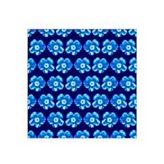 Turquoise Blue Flower Pattern On Dark Blue Satin Bandana Scarf by Costasonlineshop