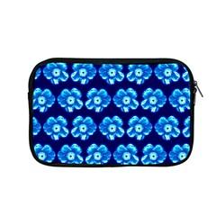 Turquoise Blue Flower Pattern On Dark Blue Apple Macbook Pro 13  Zipper Case by Costasonlineshop