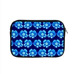 Turquoise Blue Flower Pattern On Dark Blue Apple Macbook Pro 15  Zipper Case by Costasonlineshop
