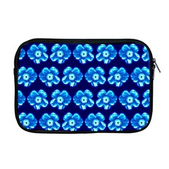 Turquoise Blue Flower Pattern On Dark Blue Apple Macbook Pro 17  Zipper Case