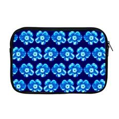 Turquoise Blue Flower Pattern On Dark Blue Apple Macbook Pro 17  Zipper Case by Costasonlineshop