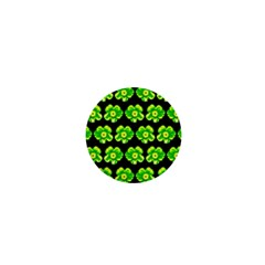 Green Yellow Flower Pattern On Dark Green 1  Mini Magnets