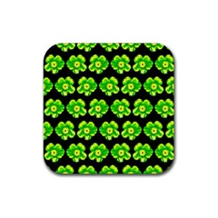 Green Yellow Flower Pattern On Dark Green Rubber Square Coaster (4 Pack)