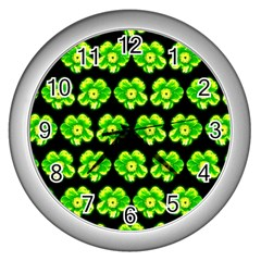 Green Yellow Flower Pattern On Dark Green Wall Clocks (silver)