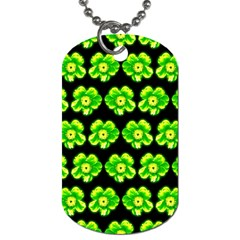 Green Yellow Flower Pattern On Dark Green Dog Tag (one Side) by Costasonlineshop