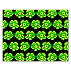 Green Yellow Flower Pattern On Dark Green Rectangular Jigsaw Puzzl