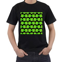 Green Yellow Flower Pattern On Dark Green Men s T Shirt (black) (two Sided)