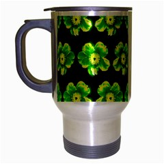 Green Yellow Flower Pattern On Dark Green Travel Mug (silver Gray) by Costasonlineshop