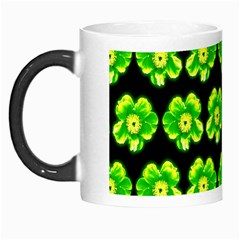 Green Yellow Flower Pattern On Dark Green Morph Mugs