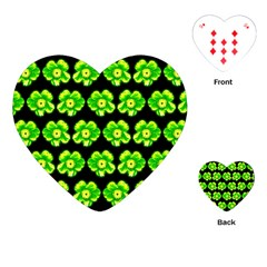 Green Yellow Flower Pattern On Dark Green Playing Cards (Heart)  by Costasonlineshop