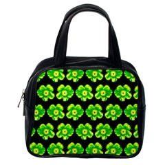 Green Yellow Flower Pattern On Dark Green Classic Handbags (one Side)