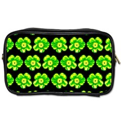 Green Yellow Flower Pattern On Dark Green Toiletries Bags by Costasonlineshop