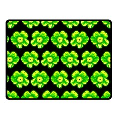 Green Yellow Flower Pattern On Dark Green Fleece Blanket (small) by Costasonlineshop
