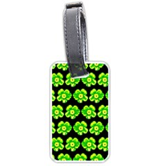 Green Yellow Flower Pattern On Dark Green Luggage Tags (one Side)