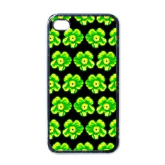 Green Yellow Flower Pattern On Dark Green Apple Iphone 4 Case (black) by Costasonlineshop