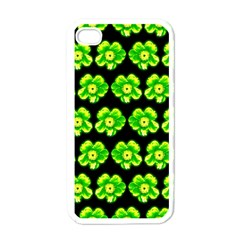 Green Yellow Flower Pattern On Dark Green Apple Iphone 4 Case (white) by Costasonlineshop