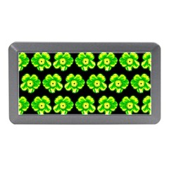 Green Yellow Flower Pattern On Dark Green Memory Card Reader (mini)
