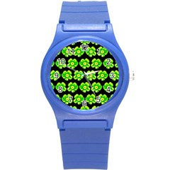 Green Yellow Flower Pattern On Dark Green Round Plastic Sport Watch (s) by Costasonlineshop
