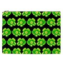 Green Yellow Flower Pattern On Dark Green Cosmetic Bag (xxl)  by Costasonlineshop