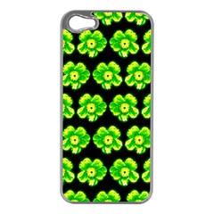 Green Yellow Flower Pattern On Dark Green Apple Iphone 5 Case (silver)
