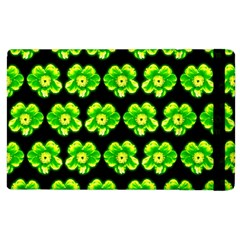Green Yellow Flower Pattern On Dark Green Apple Ipad 2 Flip Case by Costasonlineshop