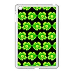 Green Yellow Flower Pattern On Dark Green Apple Ipad Mini Case (white)