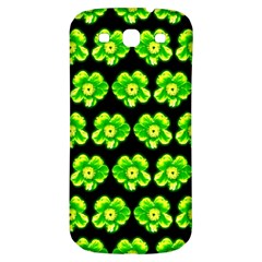 Green Yellow Flower Pattern On Dark Green Samsung Galaxy S3 S III Classic Hardshell Back Case by Costasonlineshop