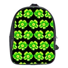 Green Yellow Flower Pattern On Dark Green School Bags (xl)  by Costasonlineshop