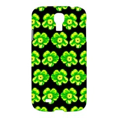 Green Yellow Flower Pattern On Dark Green Samsung Galaxy S4 I9500/i9505 Hardshell Case