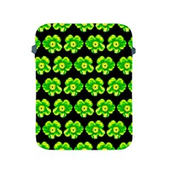 Green Yellow Flower Pattern On Dark Green Apple Ipad 2/3/4 Protective Soft Cases by Costasonlineshop