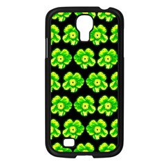 Green Yellow Flower Pattern On Dark Green Samsung Galaxy S4 I9500/ I9505 Case (black)