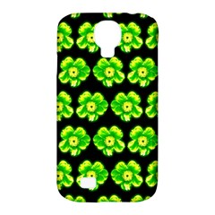 Green Yellow Flower Pattern On Dark Green Samsung Galaxy S4 Classic Hardshell Case (pc+silicone)