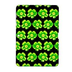 Green Yellow Flower Pattern On Dark Green Samsung Galaxy Tab 2 (10 1 ) P5100 Hardshell Case