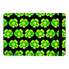 Green Yellow Flower Pattern On Dark Green Samsung Galaxy Tab Pro 10 1  Flip Case