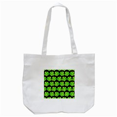 Green Yellow Flower Pattern On Dark Green Tote Bag (white)