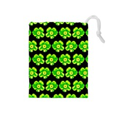 Green Yellow Flower Pattern On Dark Green Drawstring Pouches (medium)