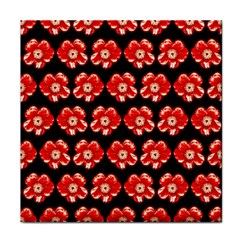Red  Flower Pattern On Brown Tile Coasters by Costasonlineshop